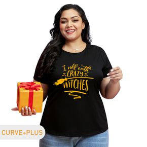 Women Plus Size Graphic Broom and Letter Print Round NeckShort-sleeve Tee