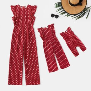Polka Dot Print Red Sleeveless Ruffle Jumpsuits for Mom and Me