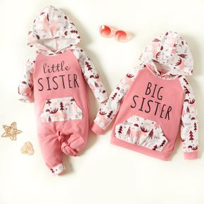 Letter Print Pink Floral Long-sleeve Hooded Sweatshirts for Sister and Me