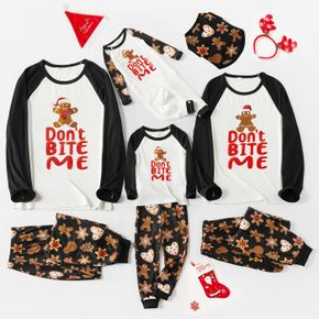 Christmas Gingerbread Man Cookie and Letter Print Family Matching Long-sleeve Pajamas Set