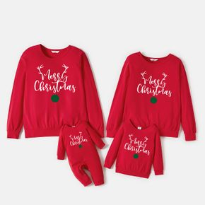 Christmas 100% Cotton Antlers and Letter Print Family Matching Long-sleeve Sweatshirts