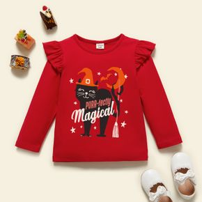 Halloween Toddler Graphic Girl Cat and Stars and Letter Print Ruffled Long-sleeve Tee