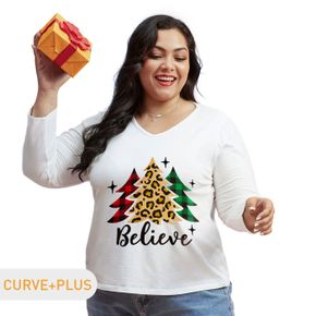 Christmas Women Plus Size Graphic Christmas Tree and Letter and Stars Print V Neck Long-sleeve Tee
