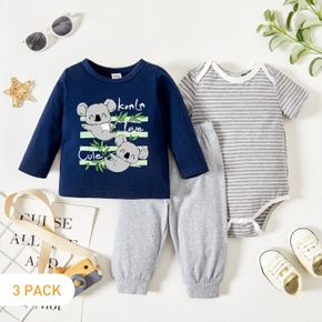 3-Pack Baby Graphic Koala and Plant Print Long-sleeve Tee & Striped Short-sleeve Romper & Pants Set