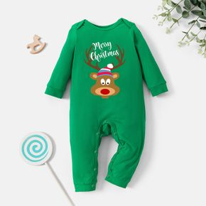 Christmas Baby Graphic Elch and Letter Print Langarm-Overall