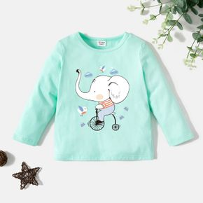 Toddler Graphic Elephant and Bike and Cloud Print Long-sleeve Tee