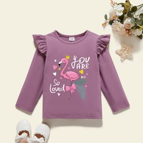 Toddler Graphic Girl Flamingo and Heart-shaped and Letter Print Long-sleeve Tee