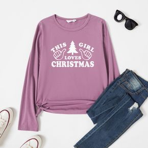 Graphic Lavender Purple Long-sleeve Round-collar Tee for Women