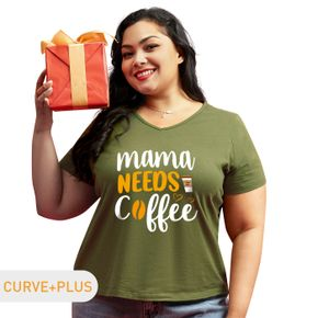 Women Plus Size Letter and Coffee Drink Print V Neck Short-sleeve Tee