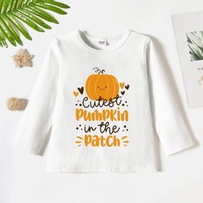 Toddler Graphic Pumpkin and Heart and Letter Print Long-sleeve Tee