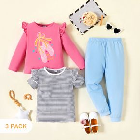 3-Pack Kid Girl Graphic Ballet Shoes and Stars and Letter Print Long-sleeve Tee & Striped Short-sleeve Tee & Pants Set