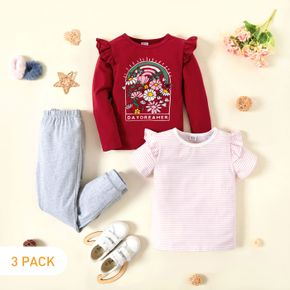 3-Pack Kid Girl Graphic Floral and Letter Print Ruffled Long-sleeve Tee & Striped Ruffled Short-sleeve Tee & Pants Set