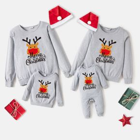 Christmas 100% Cotton Grey Family Matching Deer and Letter Print Long-sleeve Sweatshirts