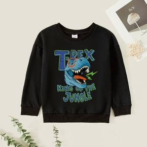 Kid Boy Graphic Dinosaur and Letter Print Long-sleeve Pullover