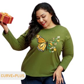 Women Plus Size Butterfly and Floral Print Round Neck Long-sleeve Tee
