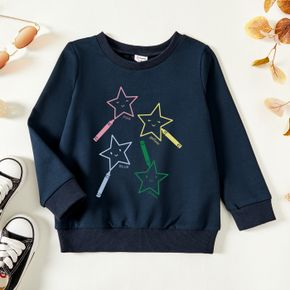 Toddler Graphic Stars and Letter Print Long-sleeve Pullover