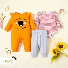 3-Pack Baby Girl Bat and Letter Print Striped Ruffled Long-sleeve Romper Jumpsuit Pants Set