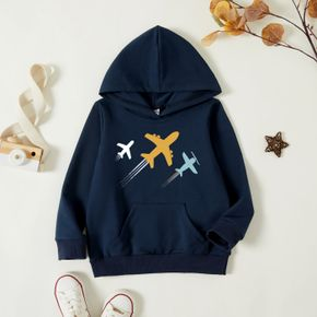 Toddler Graphic Plane Print Long-sleeve Hooded Pullover