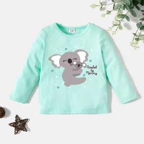 Toddler Graphic Koala and Stars and Letter Print Long-sleeve Tee