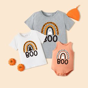 Halloween Ghost and Leopard Rainbow Letter Print Matching Short-sleeve T-shirts