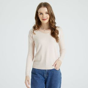 Solid Color V-neck Long-sleeve Sweaters