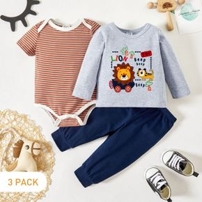 3-Pack Baby Graphic & Striped Romper Tee Pants Set