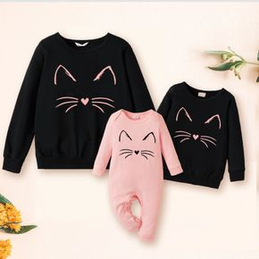 100% Cotton Cartoon Cat Print Solid Long-sleeve Sweatshirts for Mom and Me