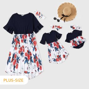 Floral Print Splicing V Neck Ruffle Sleeve Dress for Mom and Me