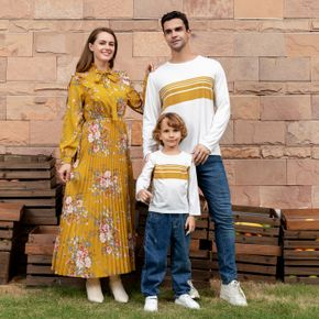 Floral Print Yellow Series Long-sleeve Family Matching Sets(Self-tie Ruffle Pleated Dresses and Striped T-shirts)