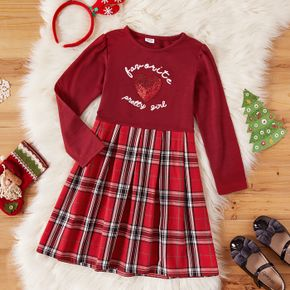 Kid Girl Christmas Letter Print Sequined Heart Pattern Red Plaid Stitching Long-sleeve Dress