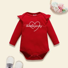 Baby Graphic Flutter-sleeve Red Long-sleeve Romper