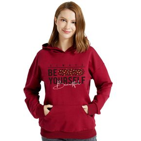 Graphic Burgundy Long-sleeve Hooded Pullover For Women
