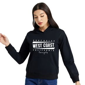 Graphic Black Long-sleeve Hooded Pullover For Women