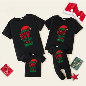 Christmas Elf and Letter Print Black Family Matching Cotton Short-sleeve T-shirts