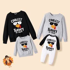 100% Cotton Thanksgiving Day Letter and Turkey Letter Print Family Matching Long-sleeve Sweatshirts
