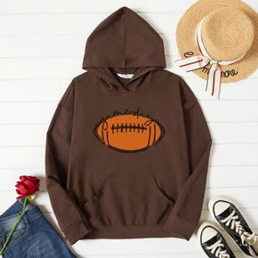 Graphic Long-sleeve Hooded Pullover For Women