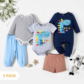 5-Pack Baby Boy Graphic Dinosaur and Letter Print Striped Romper Jumpsuit Pants Set