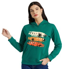 Graphic Green Long-sleeve Hooded Pullover For Women