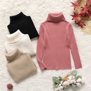 Kid Girl Turtleneck Ribbed Solid Knit Sweater