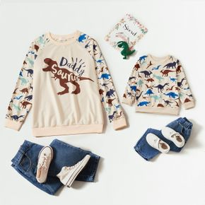 All Over Dinosaur and Letter Print Long-sleeve Sweatshirts for Dad and Me