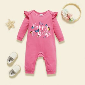 Baby Graphic Flutter-sleeve Deep pink Long-sleeve Jumpsuit
