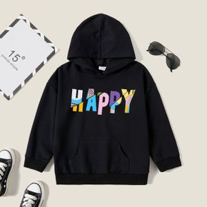 Kids Graphic Black Long-sleeve Hooded Pullover