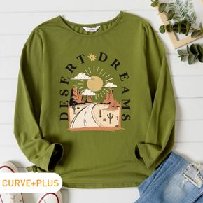 Women Plus Size Graphic Cactus and Letter Print Round NeckLong-sleeve Tee