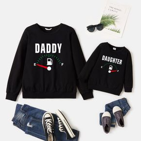100% Cotton Car Dashboard and Letter Print Black Long-sleeve Sweatshirts for Dad and Me