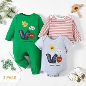 3-Pack Baby Graphic & Striped Romper Jumpsuit Set