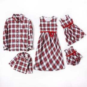 Red and White Plaid Print Long-sleeve Family Matching Sets(Sleeveless Dresses and Front Button Shirts)