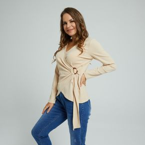 Solid Color O-ring Front Tie V-neck Long-sleeve T-shirt