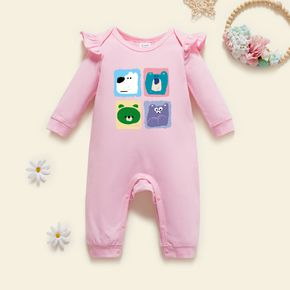 Baby Graphic Flutter-sleeve Light pink Long-sleeve Jumpsuit