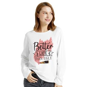 Graphic White Long-sleeve Round-collar Tee for Women
