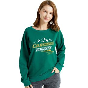Graphic Green Long-sleeve Pullover For Women